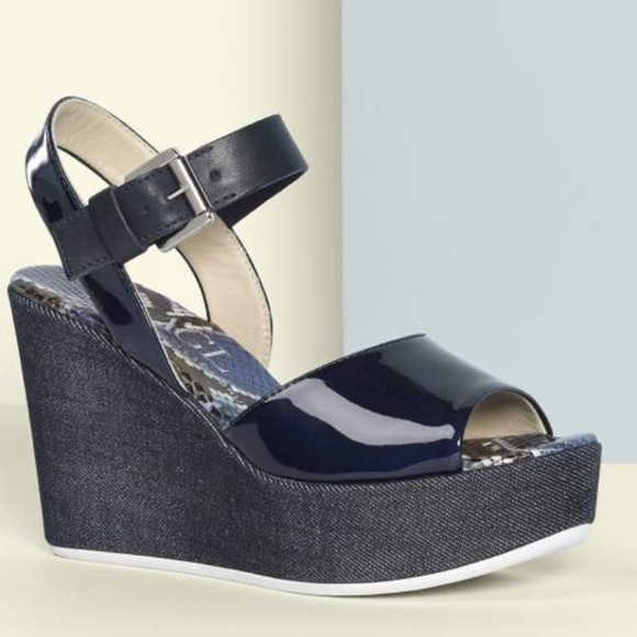 8786abd684b Attilio Giusti Leombruni Shoes - AGL Navy Denim Wedge Sandal